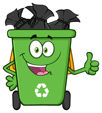 garbage bag: Happy Green Recycle Bin Cartoon Mascot Character Full With Garbage Bags Giving A Thumb Up