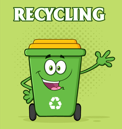 recycling: Happy Green Recycle Bin Cartoon Mascot Character Waving For Greeting. Illustration With Green Halftone Background And Text Recycling
