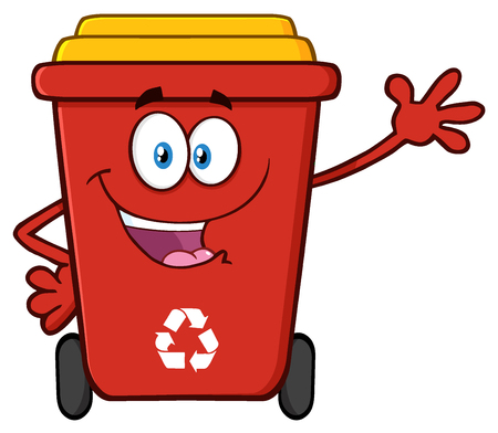 Happy Red Recycle Bin Cartoon Mascot Character Waving For Greeting Stock Photo