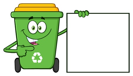 Talking Green Recycle Bin Cartoon Mascot Character Pointing To A Blank Sign Banner Foto de archivo
