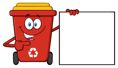 Talking Red Recycle Bin Cartoon Mascot Character Pointing To A Blank Sign Banner Stock Photo