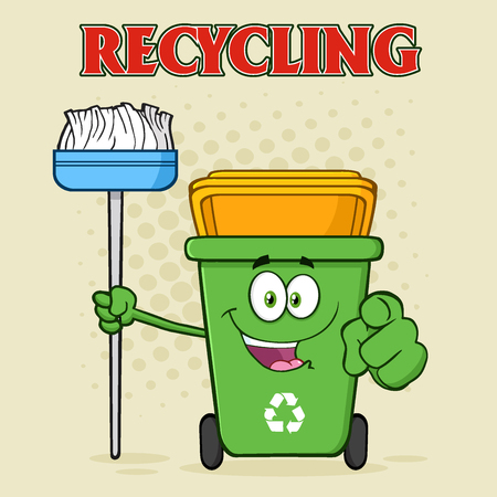 Open Green Recycle Bin Cartoon Mascot Character Holding A Broom And Pointing For Cleaning. Illustration With Halftone Background And Text Recycling