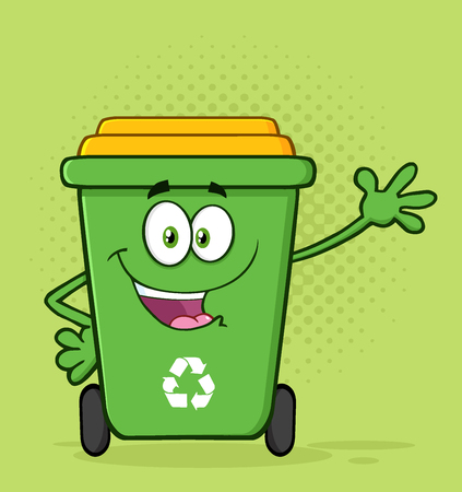 Happy Green Recycle Bin Cartoon Mascot Character Waving For Greeting. Illustration With Green Halftone Background