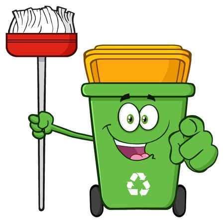reciclable: Abrir personaje de dibujos animados papelera de reciclaje verde que sostiene una escoba y apuntando para limpieza Foto de archivo
