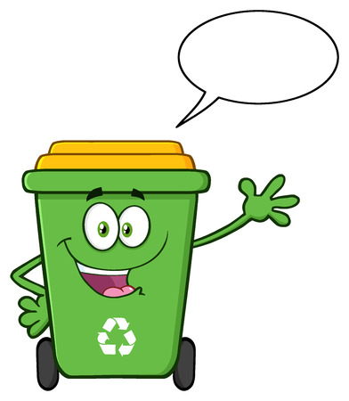 Cute Green Recycle Bin Cartoon Mascot Character Waving For Greeting With Speech Bubble