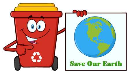 public waste: Cute Red Recycle Bin Cartoon Mascot Character Holding A Save Our Earth Sign Stock Photo