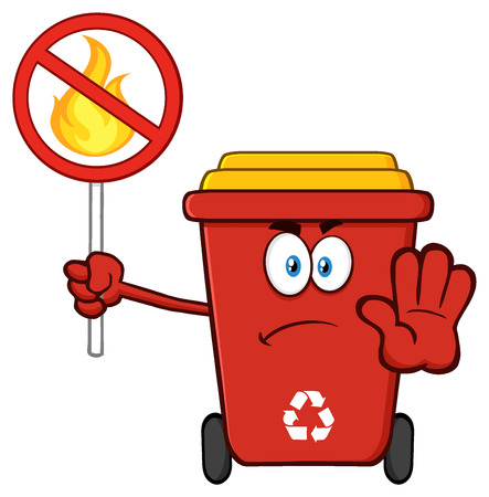 Angry Red Recycle Bin Cartoon Mascot Character Gesturing Stop And Holding A Fire Restricted Sign Stock Photo