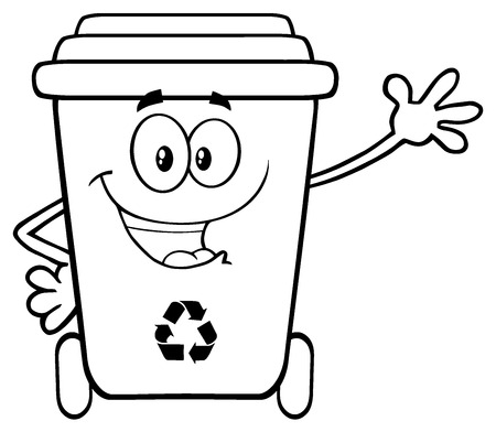 Black And White Happy Recycle Bin Cartoon Mascot Character Waving For Greeting. Illustration Isolated On White Background Stock Photo