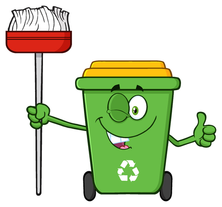 Winking Green Recycle Bin Cartoon Mascot Character Holding A Broom And Giving A Thumb Up Stock Photo