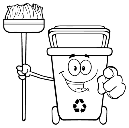 Black And White Open Recycle Bin Cartoon Mascot Character Holding A Broom And Pointing For Cleaning