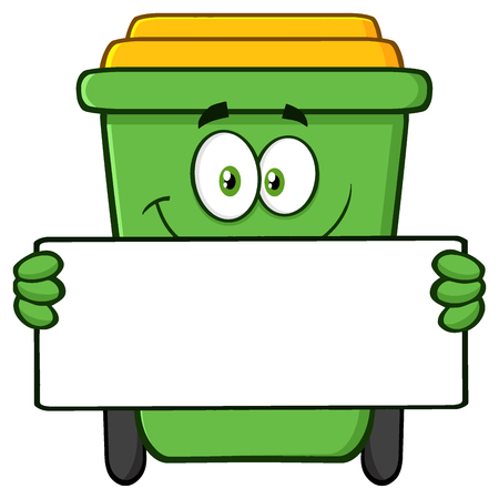 Smiling Green Recycle Bin Cartoon Mascot Character Holding A Blank Sign. Illustration Isolated On White Background