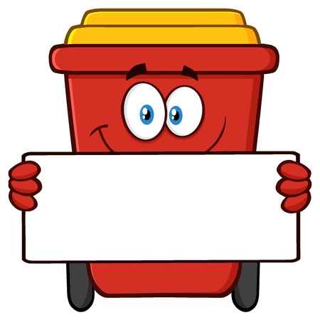 Smiling Red Recycle Bin Cartoon Mascot Character Holding A Blank Sign. Illustration Isolated On White Background