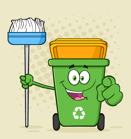 Open Green Recycle Bin Cartoon Mascot Character Holding A Broom And Pointing For Cleaning. Illustration With Halftone Background Stock Photo