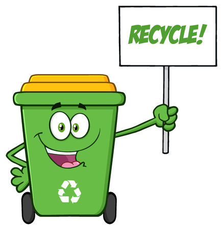 Happy Green Recycle Bin Cartoon Mascot Character Holding Up A Recycle Sign