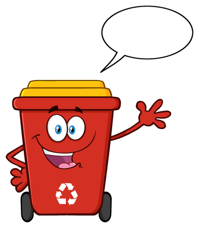 Cute Red Recycle Bin Cartoon Mascot Character Waving For Greeting With Speech Bubble
