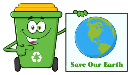green cute: Cute Green Recycle Bin Cartoon Mascot Character Holding A Save Our Earth Sign. Illustration Isolated On White Background Stock Photo