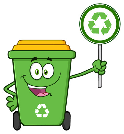 Cute Green Recycle Bin Cartoon Mascot Character Holding A Recycle Sign