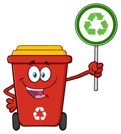 recycle sign: Cute Red Recycle Bin Cartoon Mascot Character Holding A Recycle Sign