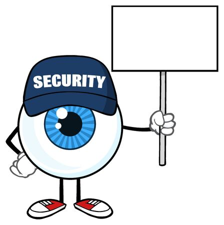 holding sign: Blue Eyeball Cartoon Mascot Character Security Guard Holding Up A Blank Sign