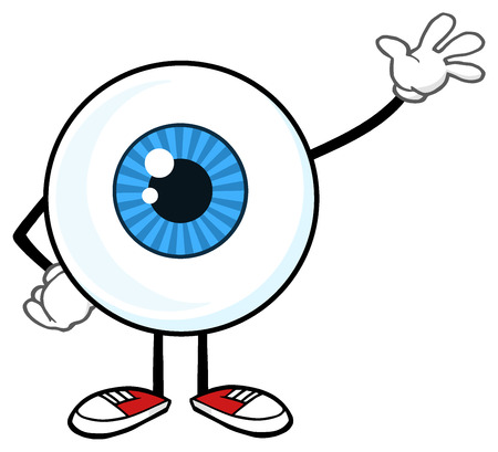 Blue Eyeball Guy Cartoon Mascot Character Waving For Greeting. Illustration Isolated On White Background