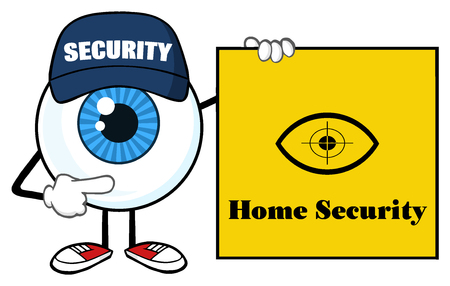 security guard: Blue Eyeball Cartoon Mascot Character Security Guard Pointing A Home Security Sign Banner