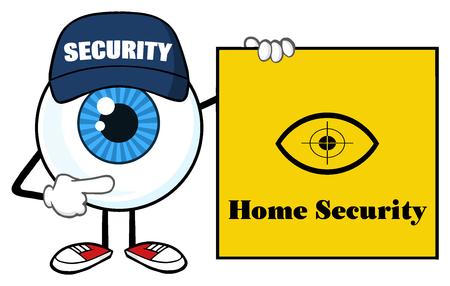 guardia de seguridad: Mascota de la historieta del globo del ojo azul Carácter Guardia de seguridad Señala Un signo de banner Seguridad para el Hogar