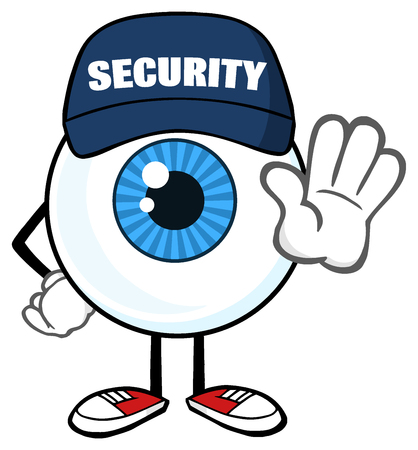 Blue Eyeball Cartoon Mascot Character Security Guard Gesturing A Stop Stock Photo