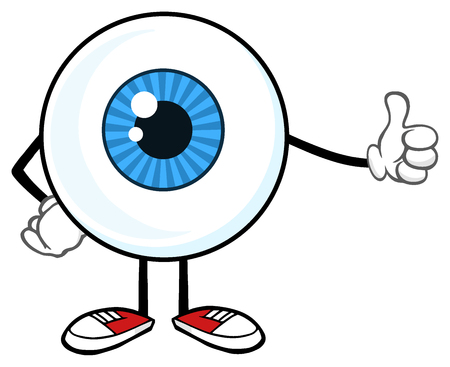 Blue Eyeball Guy Cartoon Mascot Character Giving A Thumb Up. Illustration Isolated On White Background 写真素材