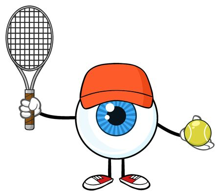 retina: Blue Eyeball Guy Cartoon Mascot Character Holding A Tennis Ball And Racket Stock Photo