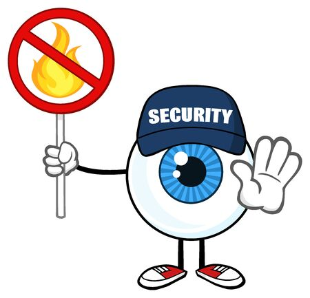 Blue Eyeball Mascot Character Security Guard Gesturing Stop And Holding A Fire Sign