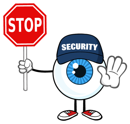 security monitor: Blue Eyeball Guy Cartoon Mascot Character Security Guard Gesturing And Holding A Stop Sign. Illustration Isolated On White Background