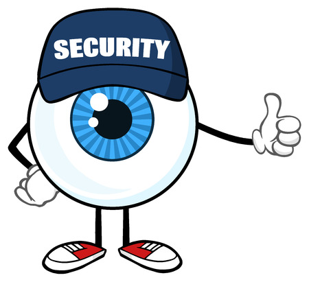 security monitor: Blue Eyeball Cartoon Mascot Character Security Guard Giving A Thumb Up. Illustration Isolated On White Background Stock Photo