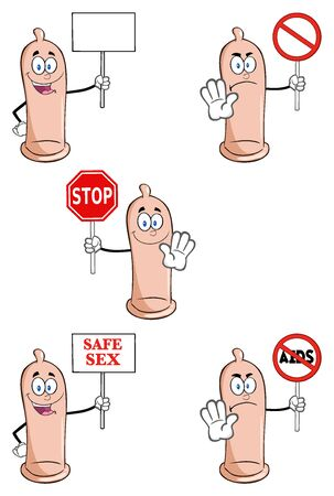 sexual health: Condom Cartoon Mascot Character 4. Collection Set Stock Photo