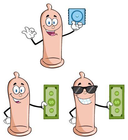 preservative: Condom Cartoon Mascot Character 2. Collection Set