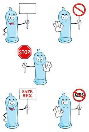 condom: Blue Condom Cartoon Mascot Character 4. Collection Set
