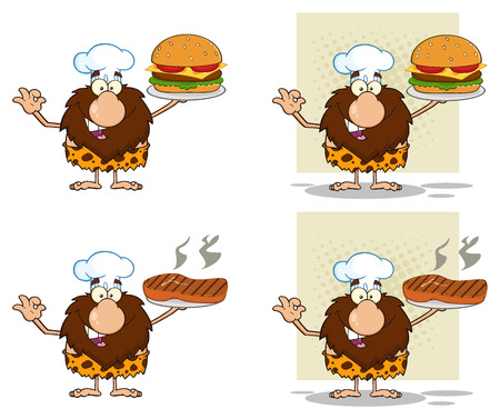 paleolithic: Funny Male Caveman Cartoon Mascot Character 9. Collection Set Stock Photo
