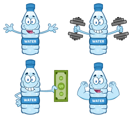 distilled: Water Plastic Bottle Cartoon Mascot Character 4. Collection Set