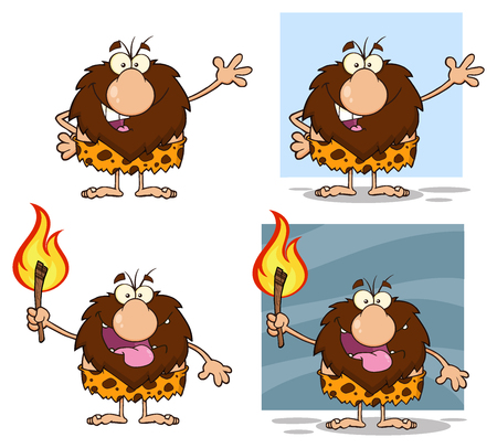 caveman cartoon: Funny Male Caveman Cartoon Mascot Character 2. Collection Set
