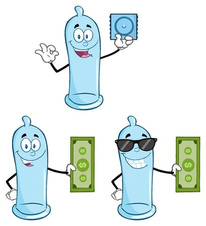 preservative: Blue Condom Cartoon Mascot Character 1. Collection Set