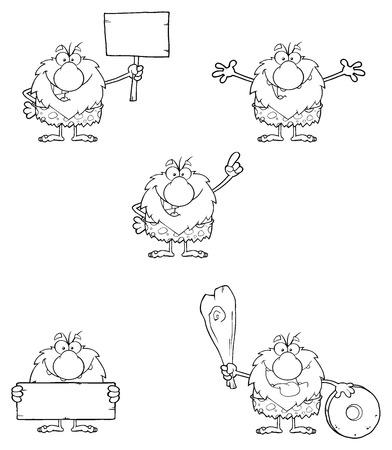 caveman cartoon: Black And White Male Caveman Cartoon Mascot Character 3. Collection Set