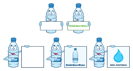 Water Plastic Bottle Cartoon Mascot Character 2. Collection Set