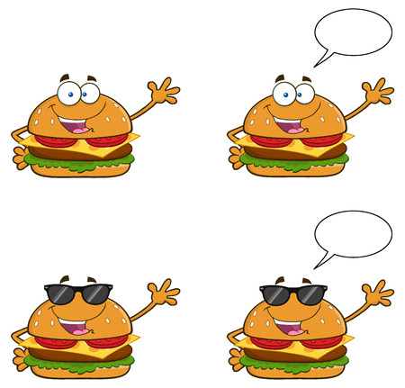 Burger Cartoon Mascot Character 1. Collection Set