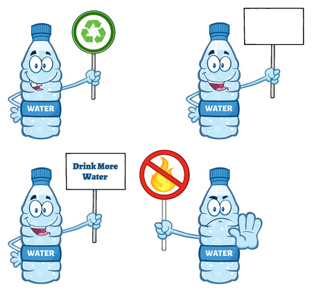 distilled: Water Plastic Bottle Cartoon Mascot Character 5. Collection Set