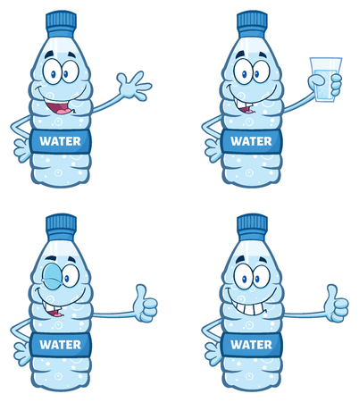 distilled: Water Plastic Bottle Cartoon Mascot Character 1. Collection Set