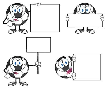 ballon foot: Mascot Cartoon Soccer Ball Character Banque d'images