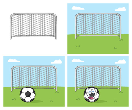 futbol: Football Gate. Collection Set Isolated On White Background