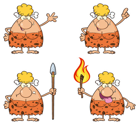 Blonde Cave Woman Cartoon Mascot Character
