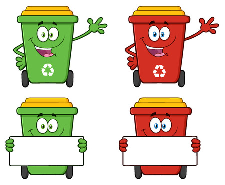 public waste: Recycle Bin Cartoon Character