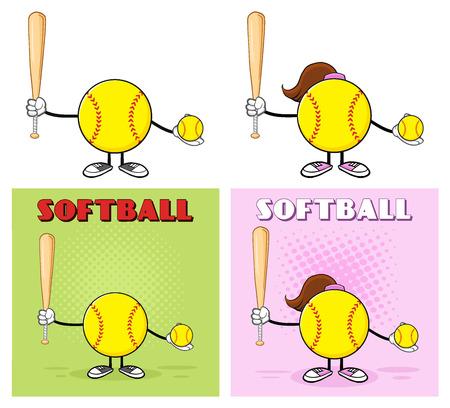 Softball Faceless Player Cartoon Character