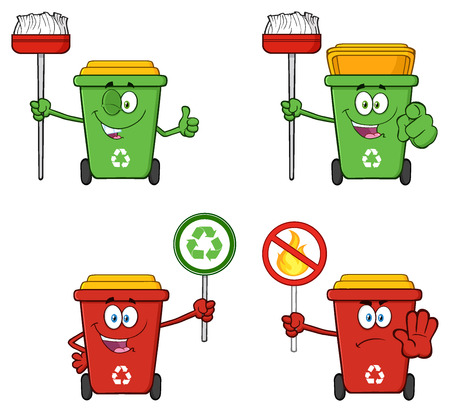 Recycle Bin Cartoon Character